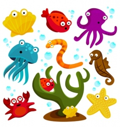 sea creatures vector image vector image