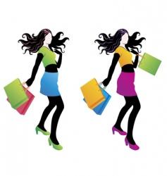 shopping fashion girl vector image