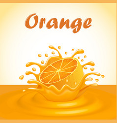 a splash of fruit orange juice vector image vector image