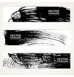 Brush texture handdrawing banner set vector image