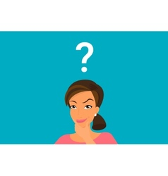 Cute woman has a question vector image