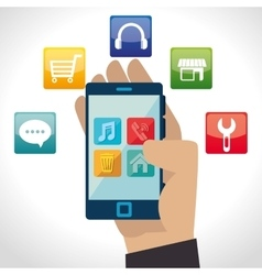 e-commerce and market mobile applications design vector image vector image