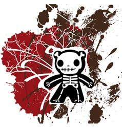 grunge teddy bones vector image vector image