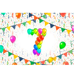 number seven made up from colorful balloons on vector image vector image