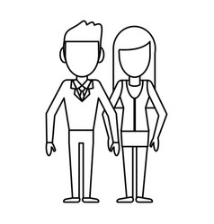 Outlined couple people relationship vector