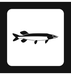 Pike fish icon simple style vector