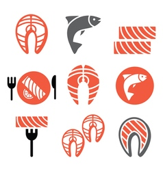 Salmon fish and meal - food icons set vector image