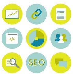 SEO flat icons set Search optimization web vector image