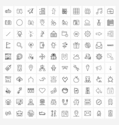 100 interface line icon set modern symbols on vector