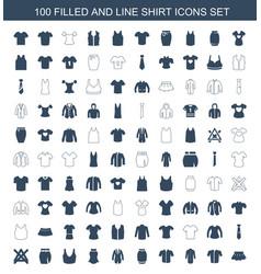 100 shirt icons vector image