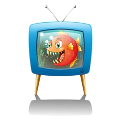 A television show with a big orange piranha vector image