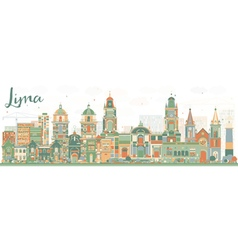 Abstract Lima Skyline with Color Buildings vector
