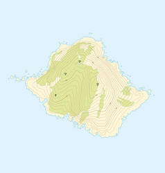 Abstract topographic map of a fictional island vector