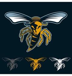Aggressive bee or wasp mascot vector