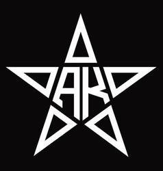Ak logo monogram with star shape design template vector