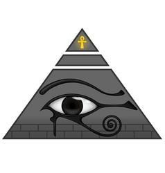 Ancient egyptian pyramid with eye horus vector