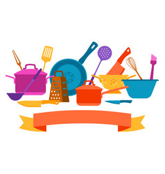 background with kitchen utensils vector image