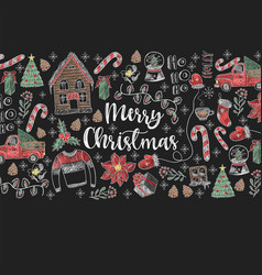banner of merry christmas with elements vector image