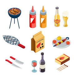 barbecue grill cooking meat steak picnic nature vector image