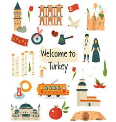 big icon set landmarks symbols turkey vector image