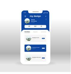 Blue designers portfolio ui ux gui screen for vector