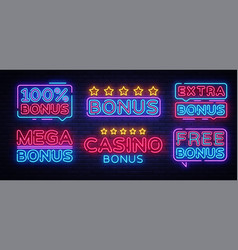 Bonus neon text collection casino vector