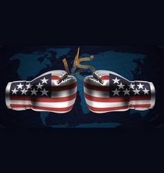 boxing gloves with print of national flags of usa vector image
