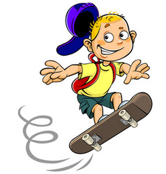Boy skateboarding vector