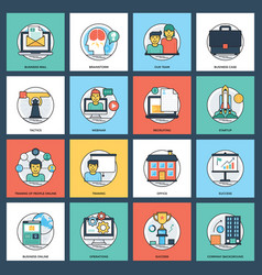 business flat icons pack vector image
