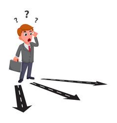 Businessman cartoon confusing for choosing future vector