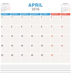 Calendar Planner 2016 Flat Design Template April vector