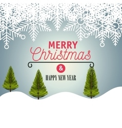 card merry christmas with landscape graphic vector image
