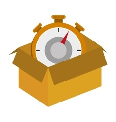 cardboard box with chronometer icon vector image