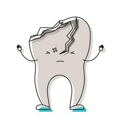 Cartoon tooth broken in watercolor silhouette vector