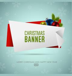 Christmas origami banner with christmas balls vector