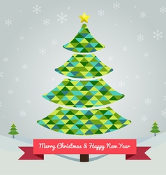 christmas tree in green colors abstract vector image