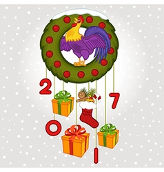 Christmas wreath with symbol 2017 rooster vector image