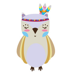 Colorful cute owl animal with feathers design vector