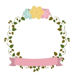 colorful ornament creepers with flowers and pink vector image