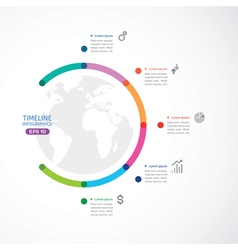 Colorful round off timeline with five points vector