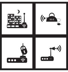 Concept flat icons in black and white Wi fi modem vector