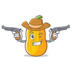 Cowboy butternut squash character cartoon vector