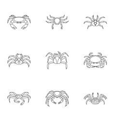 Crab icons set outline style vector