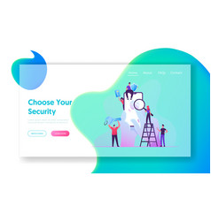 Cyber security technologies website landing page vector