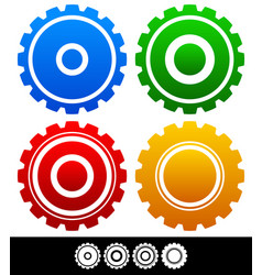 different isolated shapes or silhouettes of gears vector image