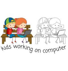Doodle kids working on computer vector