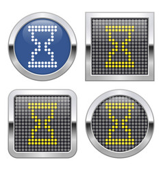 dotted icon hourglass on glossy button in four vector image