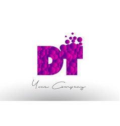 Dt d t dots letter logo with purple bubbles vector