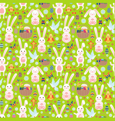 Easter seamless pattern with white bunny vector