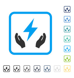 Electricity maintenance hands framed icon vector